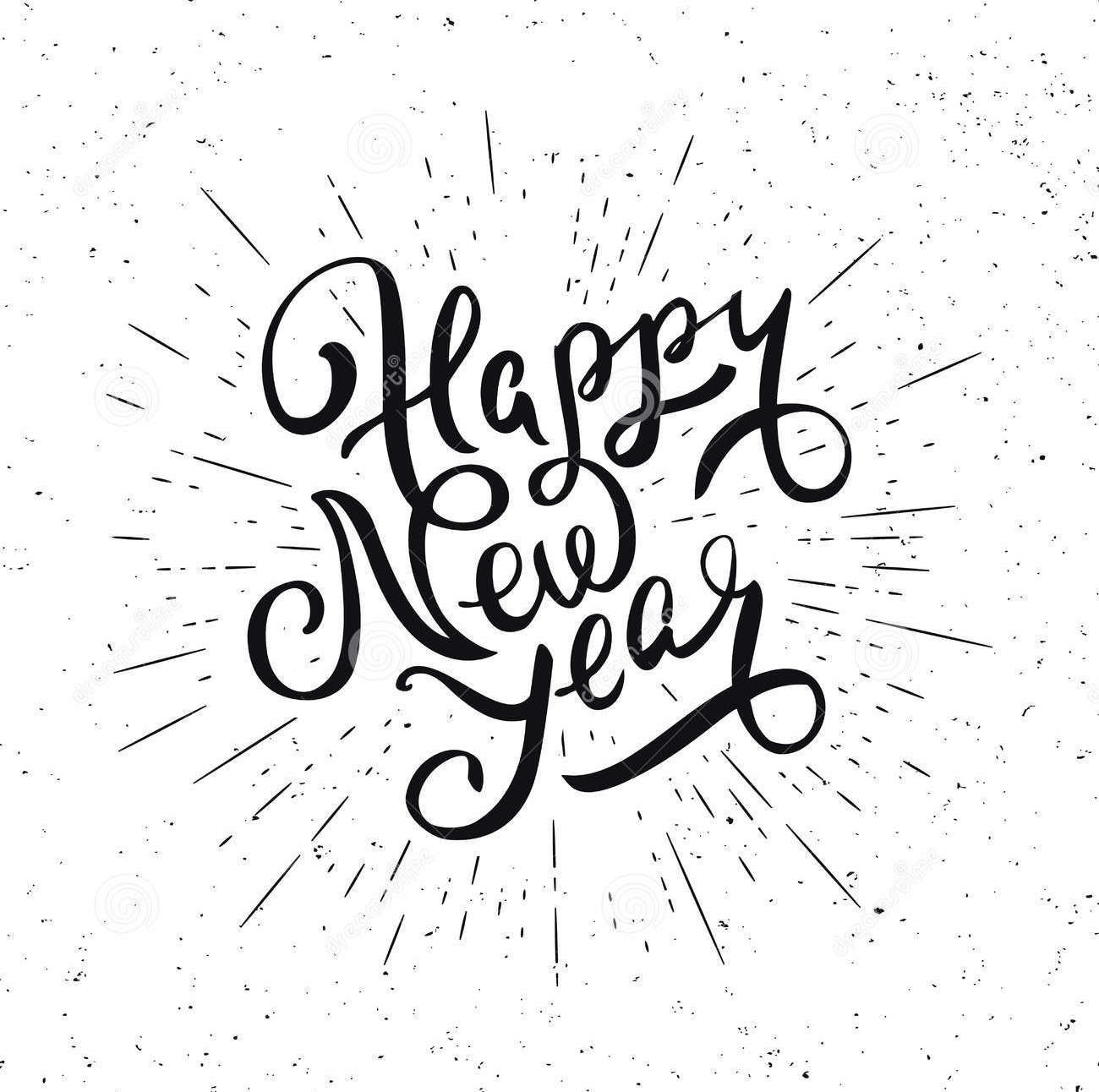 happy new year vector illustration handwritten lettering white background 79219266